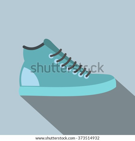 Blue sneakers flat icon - stock photo