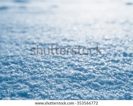 Blue snow closeup, winter christmas background, shallow depth of field - stock photo