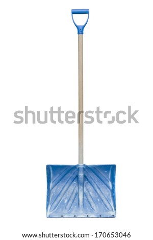 Blue snow shovel on white background. - stock photo