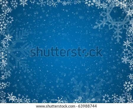 Blue Snowflake background A raster blue snowflake background. Horizontal. - stock photo