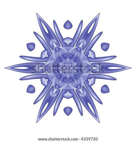 blue snowflake on white background - stock photo