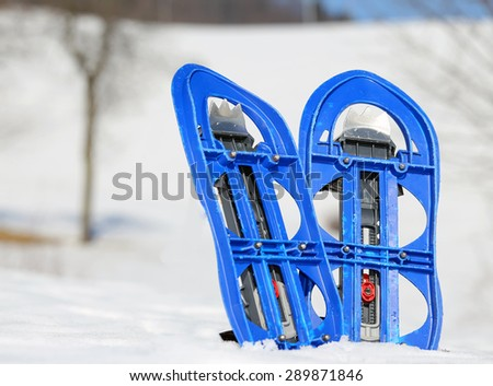 blue snowshoes in mountains in winter - stock photo