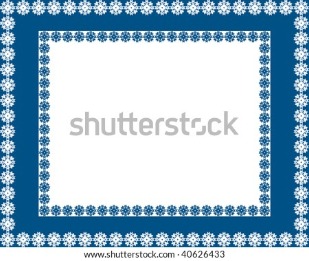 Blue snowy frame with snowflakes around