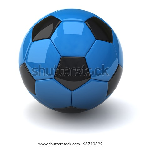 Blue Soccer ball isolated on white background - stock photo