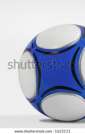 Blue soccer ball on a white background - stock photo
