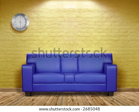 Blue sofa in a grunge room - stock photo