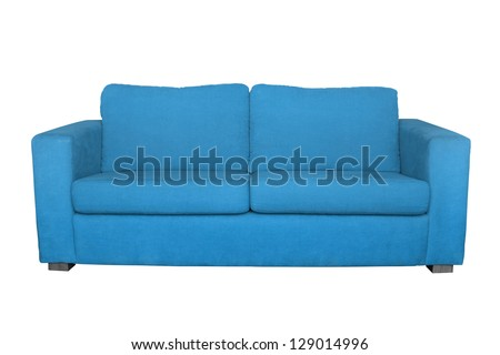 blue sofa isolated on white background - stock photo