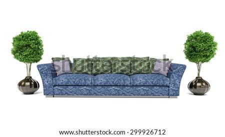 blue sofa isolated on white background. 3d illustration - stock photo
