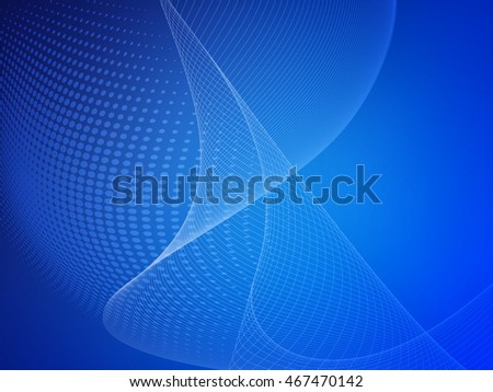 Blue soft abstract business graphic wave background with halftone