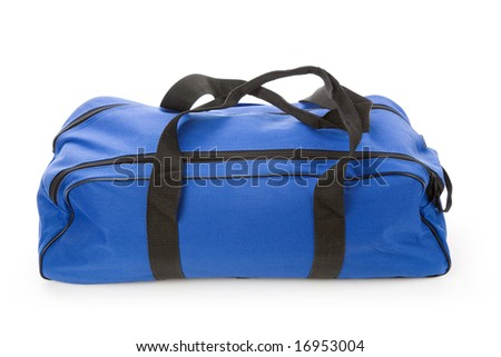 blue soft bag with white background