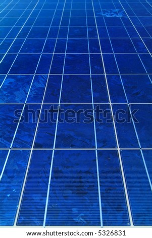 blue solar cells for power generation - stock photo