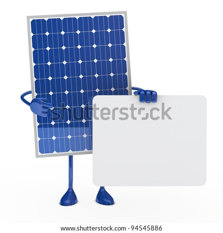 blue solar panel figure hold a billboard - stock photo