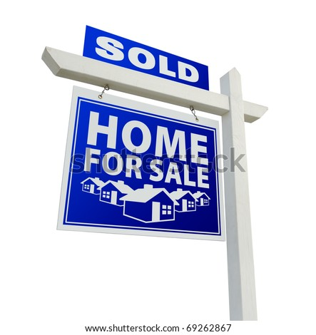 Blue Sold Home for Sale Real Estate Sign Isolated on a White Background. - stock photo
