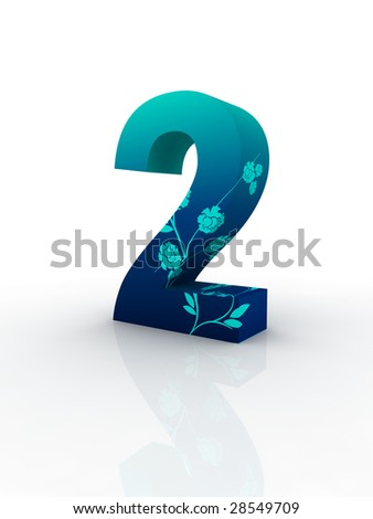 blue solid number decorated by blue fashion pattern isolated with white background