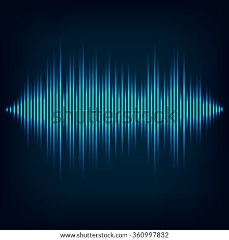 Blue sound wave on black background file