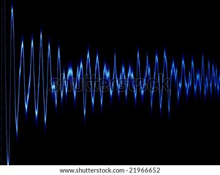 blue sound wave or brainwave - stock photo