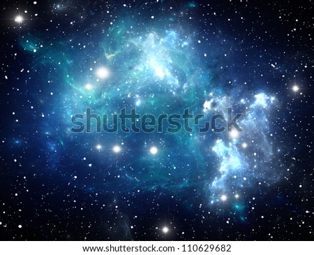 Blue space star nebula - stock photo