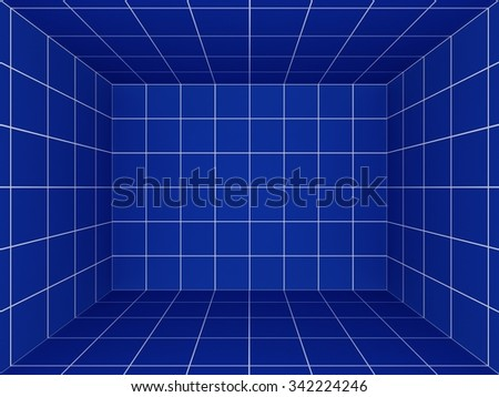 blue space with perspective grid , 3d