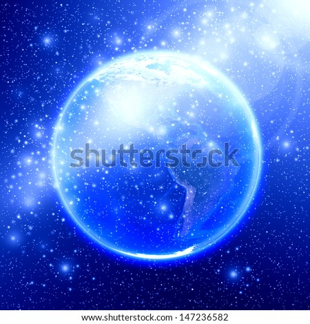 Blue space with the world, Earth globe image provided by NASA  - stock photo
