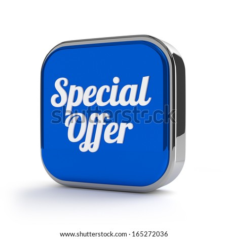 Blue Special offer button with metallic border