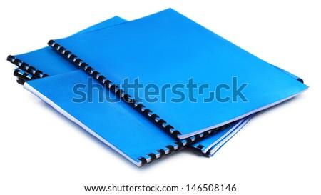 Blue Spiral bound note books - stock photo