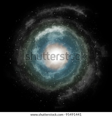 Blue spiral galaxy against black space and stars in deep outer space - stock photo
