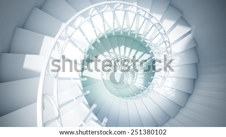 Blue spiral stairs with rails in sun light abstract 3d interior - stock photo
