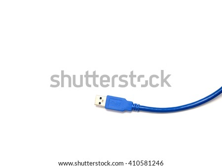 blue spiral USB cable on isolated - stock photo