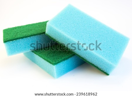 Blue sponges isolated on white. - stock photo