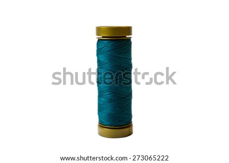 Blue spool isolated on a white background - stock photo
