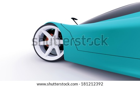 Blue sport car rendered on white background - stock photo