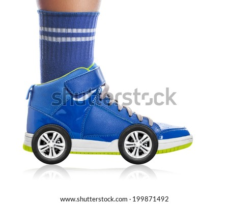 Blue Sport shoe with wheels isolated on white, speed concept - stock photo