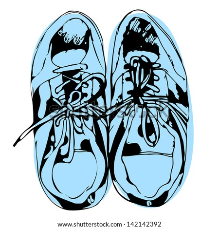 Blue sport shoes hand drawn sketch on white background. Raster version, editable vector file also available at my port. - stock photo