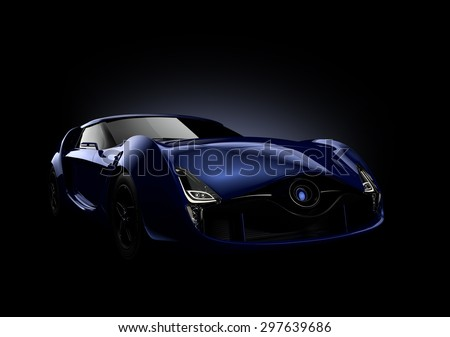 Blue sports car isolated on black background. Original design. 3D rendering image with clipping path.