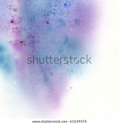Blue spot, watercolor abstract hand painted background - stock photo
