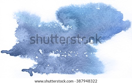 Blue spot, watercolor abstract hand painted background. Serenity Tint Watercolour Texture Gradient. Pastel Colored Palette.  - stock photo