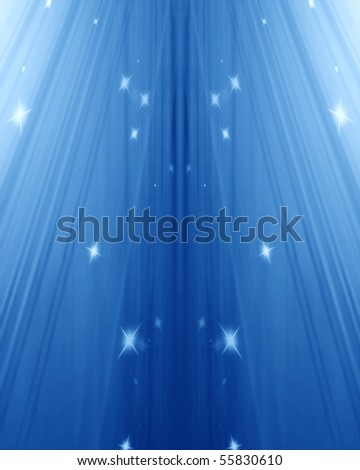 blue spotlight with some sparkles in it - stock photo