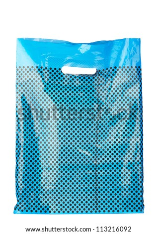 Blue spotted plastic shopping bag isolated on white - stock photo