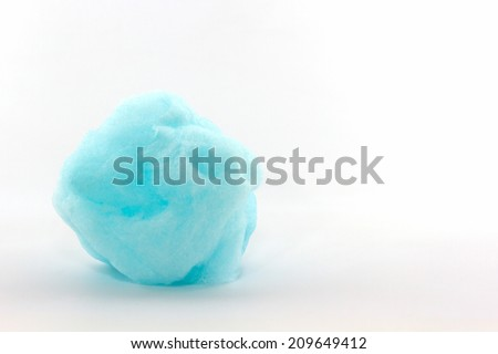Blue spun sugar on white background, Cotton Candy.  - stock photo