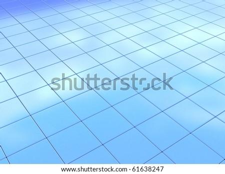 Blue square background - window reflecting blue sky - stock photo
