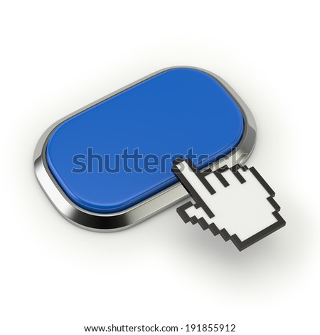 Blue square button with steel border on white background