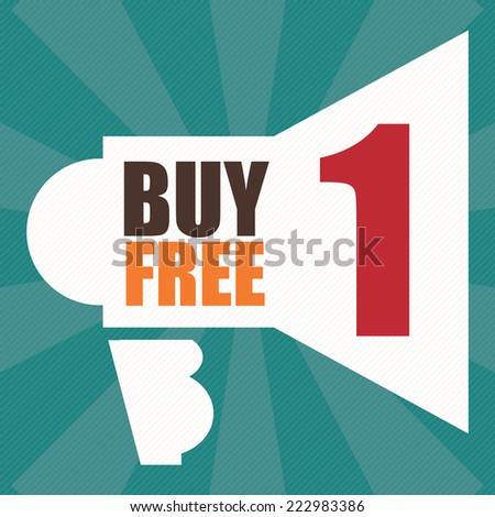 Blue Square Buy1 Free1 With Megaphone Sign Label, Icon, Sticker, Brochure, Leaflet or Poster Isolated on White Background  - stock photo