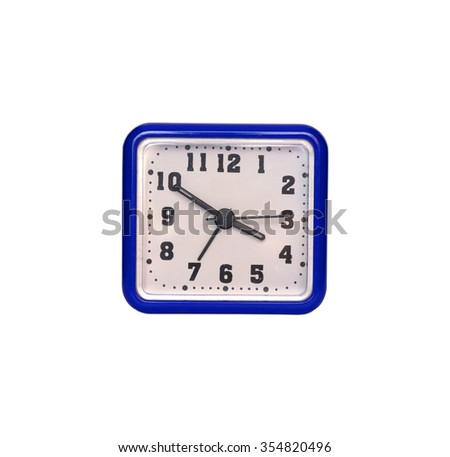 blue square clock on white background