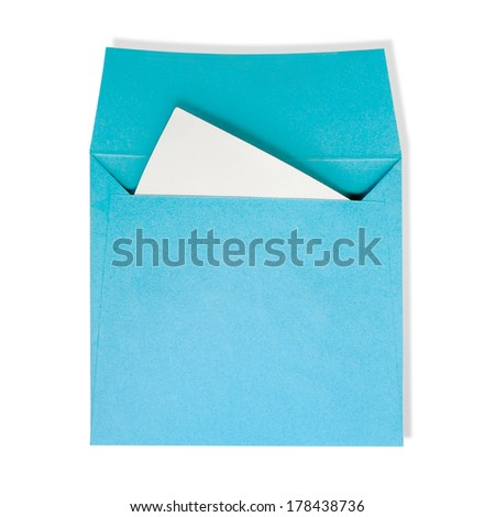 Blue square envelopes. A white paper inside on a white background with clipping path. - stock photo