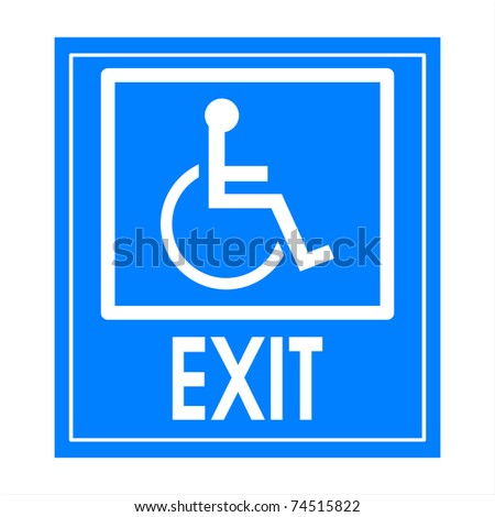 Blue square handicap sign with wheelchair  exit - stock photo