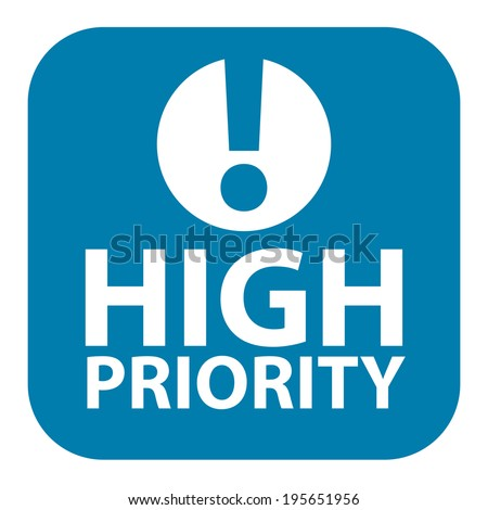 Blue Square High Priority Icon, Sign, Sticker or Label Isolated on White Background  - stock photo