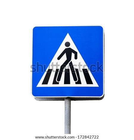 Blue square shaped pedestrian crossing sign isolated on white