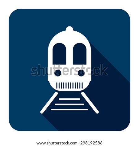 Blue Square Train, Subway Station or Railway Station Flat Long Shadow Style Icon, Label, Sticker, Sign or Banner Isolated on White Background - stock photo