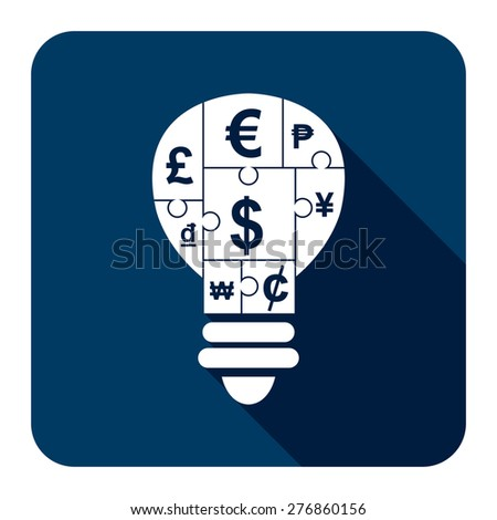 Blue Square Various Currency Sign Puzzle in Light Bulb Flat Long Shadow Style Icon, Label, Sticker, Sign or Banner Isolated on White Background - stock photo