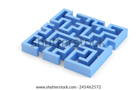 Blue squared 3d maze. Isolated over white. Contains clipping path - stock photo